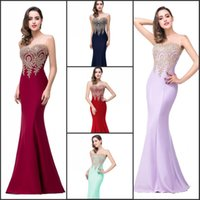 Wholesale Real Image Mermaid Evening Dresses In Stock Sheer Jewel Neck with Gols Appliques Sexy Prom Party Gowns Robe De Soiree CPS262
