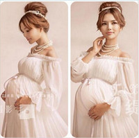 venda por atacado roupas de grávida-New White Lace vestido de maternidade Fotografia Props Vestido comprido Lace Mulheres grávidas extravagante elegante Tiro de foto Estúdio Roupa