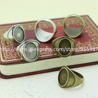 Wholesale New product Fashion Two Color Vintage Metal Alloy Ring Bases Blanks mm Antique Bronze Cabochon Rings J2007