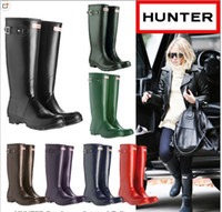 anti static rubber - Hunter Rain Boots Women Wellies Rainboots Women Rainboots Rain Boots Waterproof Ms glossy Hunter glossy Wellington Knee Boots