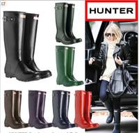 anti rain - Hunter Rain Boots Women Wellies Rainboots Women Rainboots Rain Boots Waterproof Ms glossy Hunter glossy Wellington Knee Boots