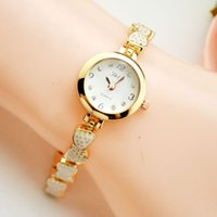 alloy folding table - 2016 new hot white gold shell strawberry bracelet watches girl fashion casual female student table quartz watch