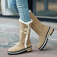 Wholesale Women Warm Winter Snow Boots Mid Heel Plush Square Heel Slip on Mid Calf Round Toe Half Boots Sweet Women Shoes Size