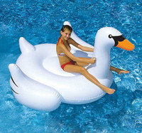 Wholesale 150cm Inflatable Swan Float White Floating Pool Ride On Animal Toys Adults Outdoor Swimming Infant Toy Swim Ring Good Price High Quality T5