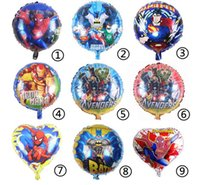 aluminum gifts for men - 50pcs High Quality Cartoon Spider Super Iron Man Avengers Batman Aluminum Film Helium Balloon Toys for children Party Gift cm