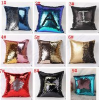 Wholesale Double Sequin Pillow Case cover Glamour Square Pillow Case Cushion Cover Home Sofa Car Decor Mermaid Bright Pillow Covers