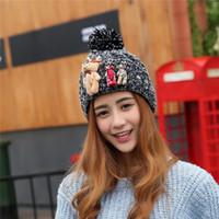 bear fur hat - Hats Winter Hats Wool Knit Fur Beanie Ski Hat Braided Crochet Cap With Bears Warm Crochet Hat Gift For Women For Girl