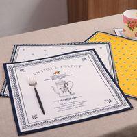 Wholesale 5PCS cm linen placemat heat insulation mat dining table mat kids table Napkin fabric flower print placemats