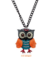 Wholesale Miaiti European New design cartoon owl fashion new acrylic flower pendant lady married diamond jewelry gift necklace with