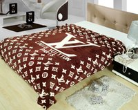 air fleece - 130 letter print fashion luxury design Flannel blankets air condition fleece blanket with original box bed sheets for sale