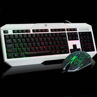 backlit keyboard kit - New Professional USB Wired Gaming Keyboard Adjustable Rainbow Backlit Gaming Keyboard and Mouse Kit Slim Ergonomics Keyboard
