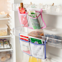 Wholesale NEW Fridge Net Storage Bag Hanging Storage Bag Modern Kitchen Refrigerator Food Organizer with Hooks Save Space Storage Bags