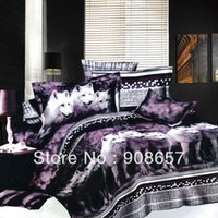 Wholesale new purple wolf animal pattern cheaper D bedding set discount oil painting queen full duvet covers sets pc for quilt comforter