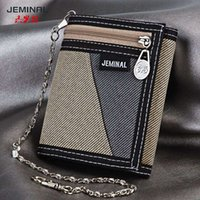 anti theft purse - Brand New casual full canvas Purse short wallet men s wallet with anti theft chain Wallet Men Manual Canvas Wallet Bag