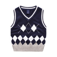 baby all boy - Exported quality England style boys Dimond vest All matched Baby clothes kids sweaters children Autumn winter v neck cm