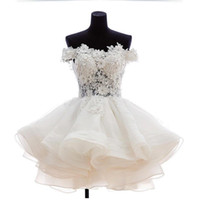 apple mini store - Short Mini Prom Dresses White Lace Appliques Off Shoulder Organza Homecoming Dress With Hand Made Flowers Sexy Illusion Online Store