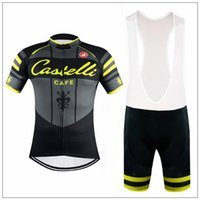anti cafe - 2016 Cast Cafe Yellow Fluo Cycling Jersey bib short sleeve ropa ciclismo bicycle clothing men Women team cycling kits maillot mtb