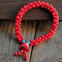 carved coral - Beautiful Sweet Red Coral Beads Carved Lotus Bracelet High Quality Original Handmade Ethnic Jewelry
