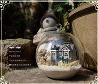 Wholesale angel fairy town Miniature Castle dollhouse led light Diy Doll House Mini doll house in Glass ball diy toys Handmade