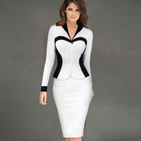 Wholesale Womens Elegant White Black Patchwork Long Sleeve Office Dresses For Women Formal Wear to Work Pencil Bodycon Dress