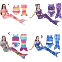 Wholesale 2016 New fashion Girls Mermaid Sea maid Bikini Swimwear beachwear pieces Baby Swimsuit Swimwear Cosplay sets colours
