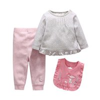 baby bib sleeves - Girl Dress Newborn Clothes Infant Clothing Autumn Bibs Long Sleeve T Shirt Baby Pants Children Set Kids Suit Outfits Lovekiss C26389