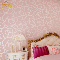 Wholesale Modern Pastoral Gold Rose Velvet Flocking Background Wallpaper Living room Classic Non woven Wall Paper Home Decor Wallcovering