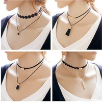 Chokers Bohemian Women's Simple Fashion Jewelry Gold Plated Pendant Double Black Leather Lace Choker Necklaces & Pendants For Women Gothic Collares