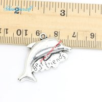 best friend necklaces dolphins - 10pcs Antique Silver Plated Best Friends Dolphin Charms Pendants for Necklace Jewelry Making DIY Handmade Craft x34mm