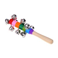 Wholesale Hand held Jingle Bell Rattles Musical Instrument Toy Baby Rattle Rainbow Wooden For Babies Kids Musical Gift