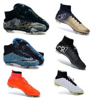 Wholesale Cheap Ronaldo Football Boots - Men Kids Soccer Boots Cleats Boys Mercurial Superfly CR7 FG TF Children Cheap Soccer Shoes Cristiano Ronaldo Youth Women Turf Football Boots