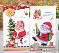Wholesale Hot Christmas Card Santa Claus Father Christmas Best Wishes Christmas Decoration Style Set Shinning Handmade D Card Christmas Tree