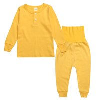 babies bellies - baby pijamas sets Long sleeve Belly protection tops High waisted pant sets Solid cottton homewear autumn winter pajamas