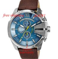 Wholesale New Mega Chronograph Blue Dial Brown Leather Watch