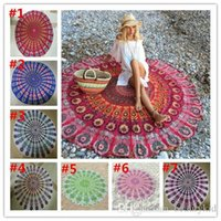 Wholesale Indian Sarsongs Mandala Tapestry polyester Round Beach BlanketYoga Mat Wall art Hanging Large Shawls Outdoor Pincnic Throw Blanket BKT087