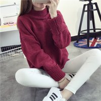 Wholesale Cheap Ladies Work Clothes - 2017 New Fashion Warm Cheap Women Sweaters High Neck Pullover European Outwear to Work Ladies Clothes FS0800