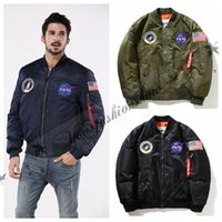 Wholesale Casual Male Jackets - NASA Winter Thicken Mens MA1 Bomber Jacket USAF Kanye West Hip Hop Sport Male Windbreaker Jacket Flag Mens Nasa Coat Outerwear M137