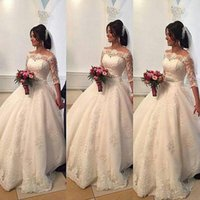 Wholesale 2016 Beaded Lace Arabic Wedding Dresses Bateau Half Sleeves Ball Gown Bridal Dresses Princess Wedding Gowns WD15