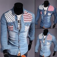 Wholesale Hot Fashion Men Denim Shirt with American Flag turn down collar long Sleeve Casual Shirt color size