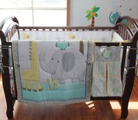 Wholesale 7Pcs Baby bedding set cotton Crib bedding set Embroidery owl elephant giraffe Cot bedding set Bumper Skirt Mattress Cover