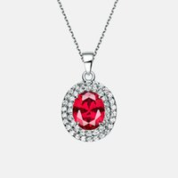 Wholesale Womens Elegant Pendant Gem Stone Nature Ruby stone with Shinning Zircon pendant Available Titanium Plated Triple Layers Platinum
