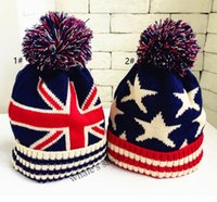 Wholesale Kids Boy Girl Union Jack or Stars Stripes USA Flag Warm Winter Bobble Beanie Skull Ski Pom Pom Hat Cap