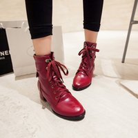 american heels shoe - Hot Sale New European and American Fashion Wild Martin Boots Rough Heel Back Lace Ladies Short Boots Pointed Women Boots Shoes
