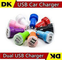 Car Chargers Universal Car Chargers 500pcs Mini Dual USB Car Charger Adapter Bullet Double USB 2-Port 1A 2A 2.1A for Samsung Galaxy S4 S5 Note 2 3 iPhone 5 5s 4 Nokia HTC One