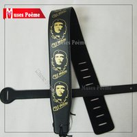 Wholesale New Black Che Guevara thick PU leather Acoustic Guitar Strap electric bass folks