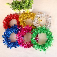 Wholesale 2016 new toys Christmas decorations Christmas tree ornaments Christmas tinsel wire Christmas rattan multicolor five star stars
