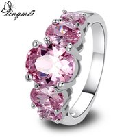 art deco sapphire ring - lingmei Fashion Jewelry Attractable Art Deco Pink Sapphire Silver Ring Size Women Rings Free Ship