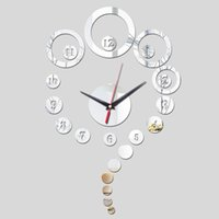 antique painted mirror - 2016 sale new Acrylic mirror wall clock limited promotion quartz watch modern d clocks gift Decorative background painting TY1943