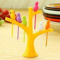Wholesale New Tableware Dinnerware Sets Birdie Fruit fork Birds On The Tree Birds Fruit Forks Forks Stand Forks