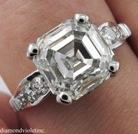 antique asscher - 4 CT ANTIQUE VINTAGE DECO ASSCHER DIAMOND ENGAGEMENT WEDDING RING PLAT EGL USA